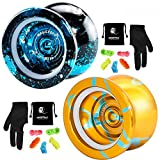 MAGICYOYO N11 Professional Unresponsive Yoyo Alloy Aluminum YoYo Ball with 2 Bags, 2 Gloves and 10 Strings -N11 Golden Blue and N11 Black Blue Silver