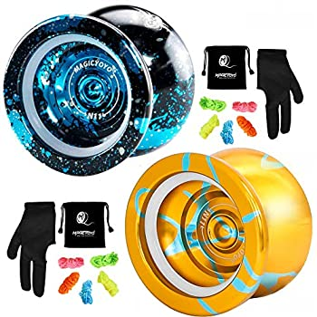 MAGICYOYO N11 Professional Unresponsive Yoyo Alloy Aluminum YoYo Ball with 2 Bags 2 Gloves and 10 Strings -N11 Golden Blue and N11 Black Blue Silver