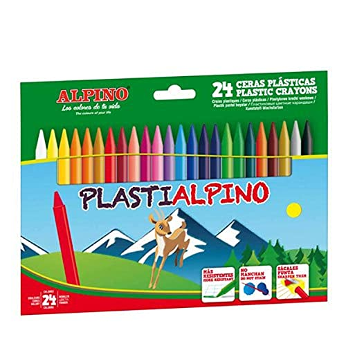 Ceras de Colores Plasti Alpino PA000024- Estuche de Ceras para Niños de 24 Unidades - Lápices de Cera para Manualidades y...