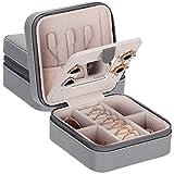 ANWBROAD Mini organizador de caja de viaje para joyería caja de exhibición pequeña con espejo portátil para anillos pendientes collar pulseras regalo para niñas mujeres piel sintética gris