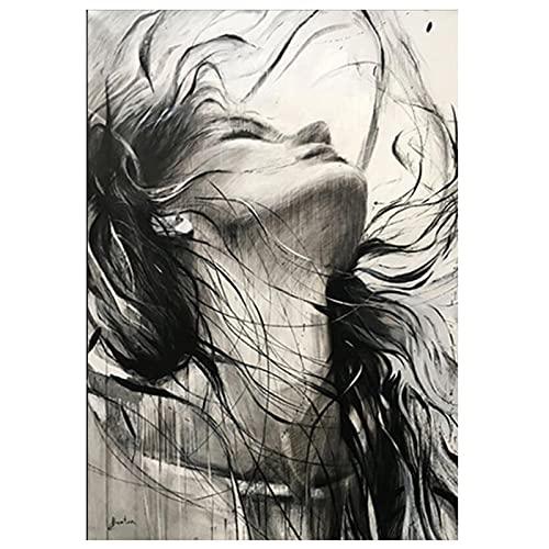 Kit De Pintura De Diamante 5D Con Taladro Completo - Negro Blanco Retrato Moderno Mujer Diamante Pintura - Punto De Cruz Decoración Del Hogar Mosaico Cuadrado Redondo Artes Bordado Artes Artesanía P