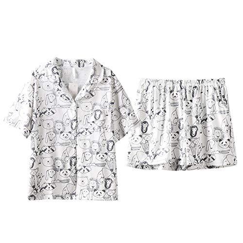 DFDLNL Conjunto de Pijamas de algodn para Mujer, Pijamas de Manga Corta, Ropa de Dormir Sencilla para Mujer, Pijama para Mujer, Traje de casa, Pijamas para Mujer XL