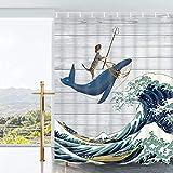 Ikfashoni Funny Cat Duschvorhang Ocean Wave Badezimmer Vorhang mit 12 Haken, Vintage Holz Streifen Badezimmer Duschvorhänge Wasserdicht Stoff Duschvorhang, 175,3 x 177,8 cm