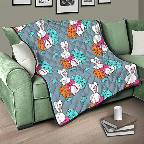 AXGM Colcha de Pascua con diseño de conejos y huevos de Pascua, manta acogedora para el salón, impresión 3D, manta de viaje, color blanco, 150 x 200 cm
