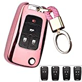 ROYALFOX(TM 2 3 4 5 Buttons TPU flip Remote Key Fob case Cover for Chevrolet Camaro Cruze Equinox Malibu SS Sonic Spark Volt Aveo Epica SAIL 3,Buick Lacrosse Encore GL8 Regal Excelle (Pink)