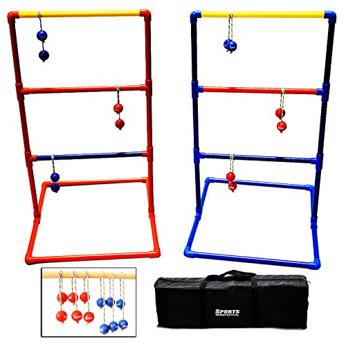 Sports Festival Metal Ladder Ball Game Set, Outdoor Ladder Golf with Carrying Case Ladder Toss Game for Kids, Adults and Family(6 Bolas)