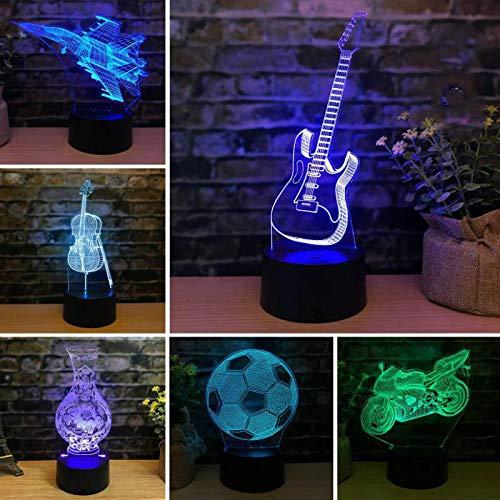 Nur 1 Stück Cello Gitarre Fußball Grün Lotus 3d Nachtlicht Kreatives Geschenk Für Freundinnen Geburtstag Led Nachtlicht Neuheit Led USB 3d Lampe