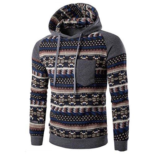 OSYARD Männer Retro Tops,Langarm Kapuzenpullover mit Kapuze, Herren Camouflage Hoodie Winter DüNnen Sweatshirt Jacke Mantel Outwear