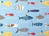 Minerva Crafts Jersey Stoff Fisch, Meterware, Blau