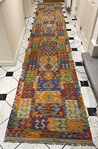 Alfombra oriental afgana hecha a mano Kilim de lana de colores naturales afganos turcos nómada persa tradicional persa 85 x 494 cm vintage corredor pasillo escalera reversible