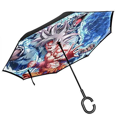 PLUAN Dra-gon-Ball Wukong - Paraguas invertido de doble capa, 8 varillas con mango en forma de C, plegable, resistente al viento, para hombres y mujeres, Black (Negro) - Umbrella-218926773-1