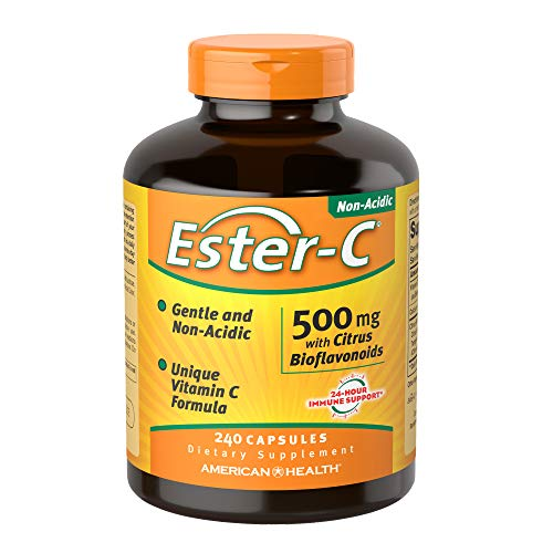 American Health Ester-C 500 mg with Citrus Bioflavonoids - 240 Capsules - Gentle On Stomach, Non-Acidic Vitamin C - Non-GMO, Gluten Free - 120 Servings