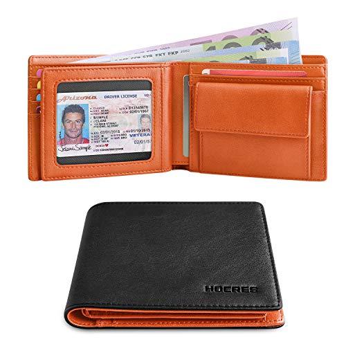 HOCRES RFID Blocking Geldbörse für Männer Slim Bifold Geldbörse Herren Leder mit Münztasche, 10 Kreditkarten, 2 Banknotenfächer, 1 ID Fenster Brieftasche mit Geschenkbox