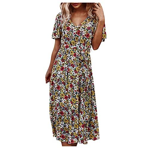 QWERT 2021 Nouveau Robe Femme Longue,Mode Soiree Vintage Chic Grande Taille Plissé Couleur Unie Moulante de Plage Fête Tendance Fendue Manche Courte Slim Se Plie Robe