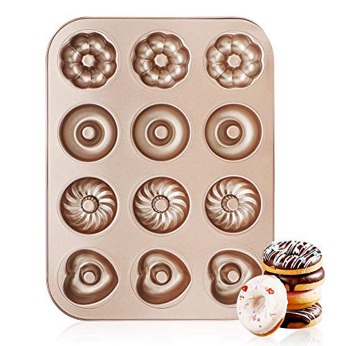 Donut Pan 12 Cavity, Beasea Nonstick Donut Baking Pans, Carbon Steel Mini Donut Mold, Doughnut Pan Donut Baking Tray Bagels Mold for 12 Donuts