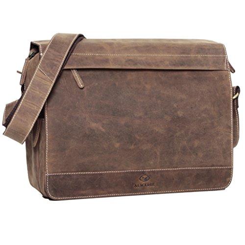 ALMADIH Leder Umhängetasche M25 Large braun Vintage aus Rindsleder - DIN A4 Ledertasche mit gepolstertem Laptop Fach, Leder Aktentasche Messenger Unitasche Schultertasche Freizeittasche (M25 Large)