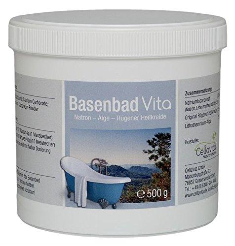 CELLAVITA Basenbad Vita 500g | Natron-Alge-Rügener Heilkreide (Natriumbicarbonat/Natron; Lithothamnium-Alge; Original Rügener Heilkreide)