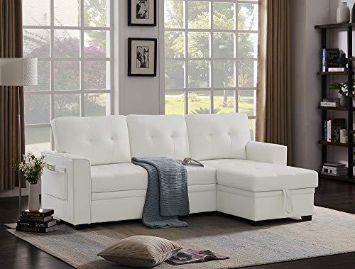 Infini Furnishings PU Leather Reversible Sleeper Sofa & Chaise Sofabed, White