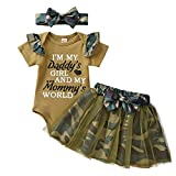 Infant Baby Girls Romper Camo Outfits Ruffle Short Sleeve Bodysuit Onesies Floral Tulle Skirts Summer Clothes Set (Camouflage, 0-3 Months)