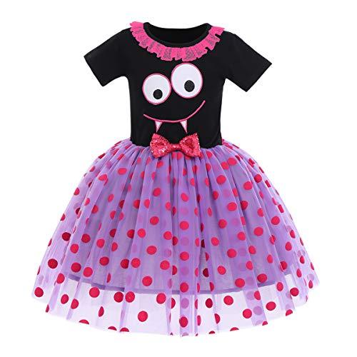 FYMNSI Déguisement d'Halloween pour bébé fille et enfant Fantôme citrouille A-ligne Tulle Princesse Carnaval Party Cosplay Déguisement pour 6 mois à 6 ans - Violet - 24 mois