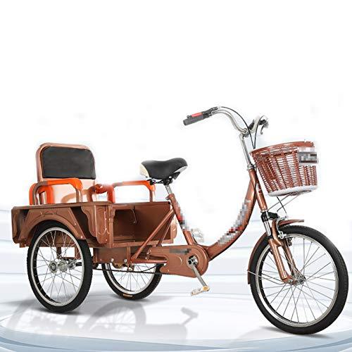 TWW Triciclos para Personas Mayores, Bicicletas Pequeñas De Pedal, Bicicletas para Adultos, Scooters Eléctricos Plegables, Ocio para Personas De Mediana Edad Y Ancianos, Scooters,Latón