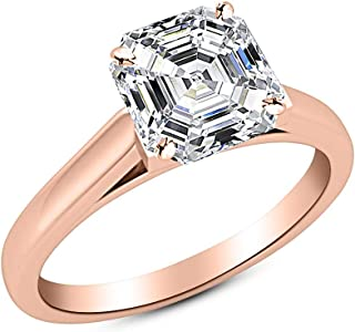 1.2 Carat 18K White Gold Asscher Cut Cathedral Solitaire Diamond Engagement Ring E-F Color VS2 Clarity