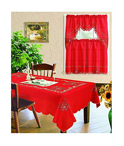 All American Collection New 3pc Christmas Holiday Design Embroidered Kitchen Curtain Set (6 Chairs Tablecloth, Red)