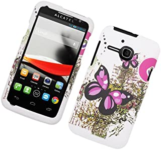 Eagle Cell Rubber Protector Case for Alcatel One Touch Evolve - Retail Packaging - Pink Butterflies