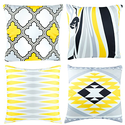CRJHNS Throw Pillow Covers, Soft Silk Cushion Cover Decorative Square Pillow case for Couch, Bed, Set of 4, 18x18 inch (Yellow Grey)