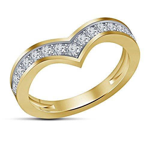 Vorra Fashion Design 14K vergoldet 925Silber rund Kinderbett CZ Dainty Chevron Damen-Ring