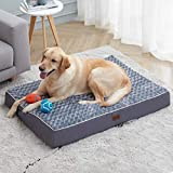 Orthopedic Memory Foam Dog Bed for Small, Medium, Large, Jumbo Dogs, Thick Pet Bed Waterproof Mattress with Removable Washable Cover, Calming Anti-Anxiety Crate Dog Bed with Non-Slip Bottom