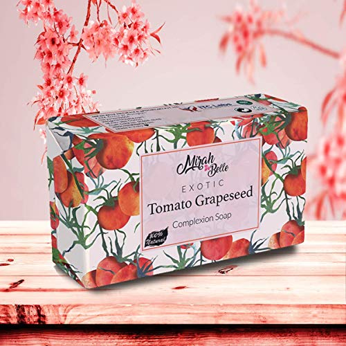Mirah Belle - Tomato, Grapeseed Complexion Soap - Natural Vitamin C Handmade Soap - Skin Brightening and Lightening - Vegan and Cruelty Free - Best for Men and Women - Face and Body Bar - 125 gms