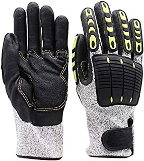LGCBO 10.5 inch Anti-Vibration Impact Resistant Anti-cutting Resistant Wear Resistant Mechanic Work Gloves Professional-Grade Protection and Durability Gloves