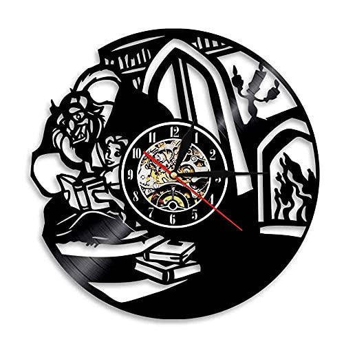 Belleza y Bestia Belle Dibujos Animados Vinilo LED Diseño de diseño de Reloj de Pared Novia o Novio-8
