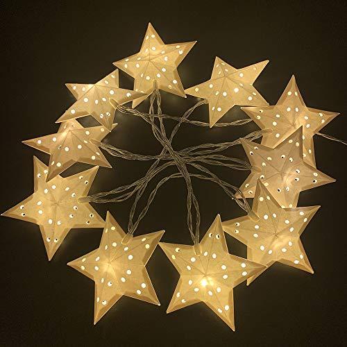 Natsen Lichterkette 10 LED Lichterketten mit Papiersternen, Batteriebetriebe Lichter für Innen Party Weihnachten Hochzeit Deko (Warmweiss)
