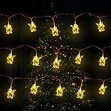 Gxhong Stringa Luci LED Catena Luminosa 3m Catene Luminose Forma di Babbo Natale, Lucine LED Decorative per Camere da Letto Giardino Casa Feste Natale Matrimonio