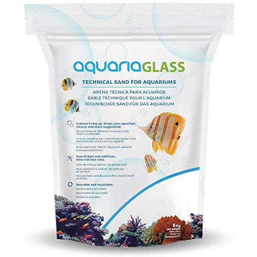 AquariaGlass Tropical White Arena Técnica Fina para Acuarios y Peceras, Evita la Compactación y Aumenta la Higiene, Limpieza y Durabilidad del Agua de Acuario Color Blanco - Saco de 5kg