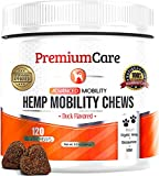 PREMIUM CARE Glucosamine Chews for Dogs with Hemp - Hip and Joint Health Supplement for Mobility Support - Dog Glucosamine Chewables with Vitamin C and MSM - 120 Hemp Chews