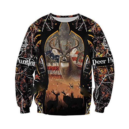 Animal Deer Hunting Camo 3D Jacket Men/Women Harajuku Hooded Unisex Casual Streetwear Sweatshirt Pullover Sweatshirts X-S