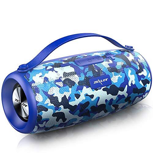 Zealot Bluetooth-Lautsprecher, kabellos, mit Powerbank, 20 Stunden Laufzeit, Dual-Treiber, 20 W, Bluetooth 5.0, wasserdicht, Subwoofer, leistungsstark, AUX/TF/Hände, Camouflage, Blau