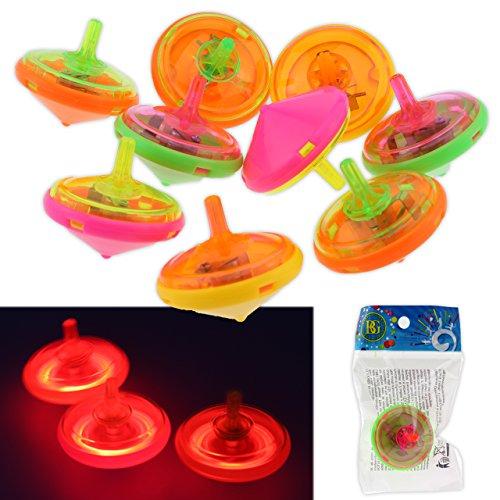 12x Kreisel LED Lichteffekt Leuchtend Spinning Bunt Mitgebsel 4,5 cm Beutel