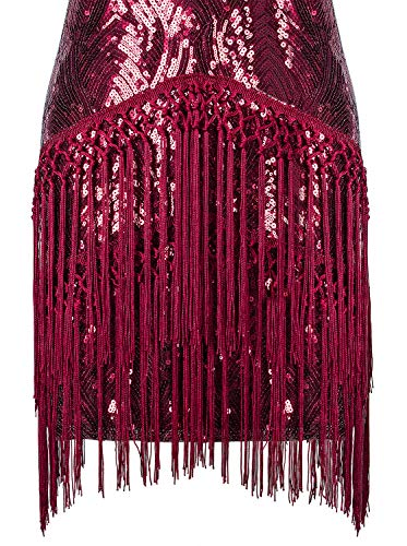 VIJIV Women's Flapper Dress 1920s Fashion High Tea Fringe Vintage Style Roaring 20s Great Gatsby Dress for Party Wedding Drop Waist Red Small