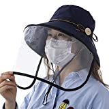 Summer Bucket Hat for Women Face Shield Sun Protection UV Hunting Travel Beach Chin Strap Fashion Medium Navy Blue