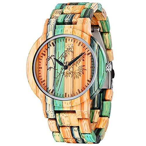 Herren Männer Holzuhr Natürliche Hölzerne Uhren Casual Uhr Analog Quarzwerk Armbanduhr Bunte Damenuhr mit Mischfarbe Bamboo Armband