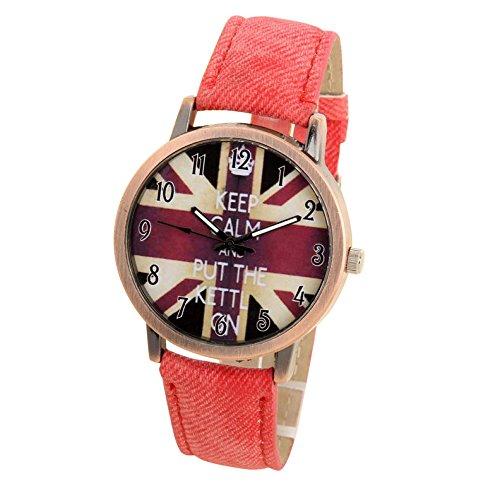 Toamen Relojes Unisex de Cuarzo Casual analógico Deportivo Denim Fabric UK Flag (B)