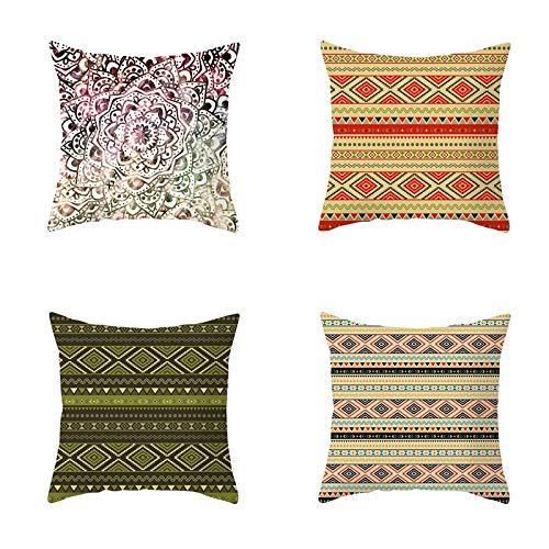 RuaRua Set Of 4 Pillow Covers,Bohemian Mandala Decorative,Throw Pillow Case,Cushion Case,For Bed Room Bedroom Sofa Chair Car Office Decor,Line,18X18 Inch/45X45Cm