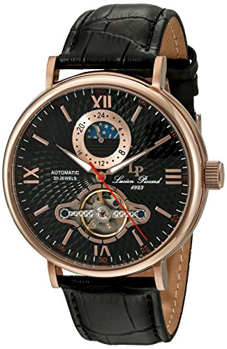 Lucien Piccard Men's 'Babylon' Automatic Stainless Steel and Black Leather Casual Watch (Model: LP-15040-RG-01)