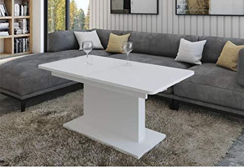 Design Couchtisch Tisch DC-1 Hochglanz stufenlos höhenverstellbar ausziehbar Esstisch (Weiß matt)