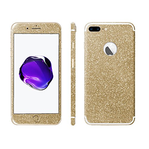 Luch iPhone 7 8 X Glitter Screen Skin Diamond Shine Sticker plakfolie beschermfolie voor de voor- en achterkant, iPhone 7 Plus / 8 Plus, goud