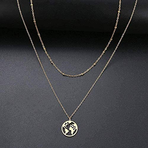 JSYHXYK Necklace Necklace Heart/World Map/Stick/Star/Cross Choker Necklace for Women Multi Layer Beads Chocker Gold Color Stainless Steel Jewelry